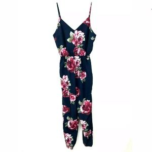 NWT Forever21 Navy Floral Jumpsuit Spaghetti Strap